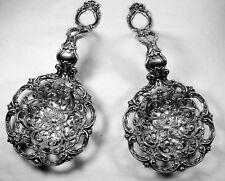 Rare Gorham Sterling Bonbonniere Spoons Antique Huge Reticulated Heavy Gorgeous!
