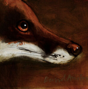 FOX PORTRAIT : ORIGINAL OIL PAINTING :  Foxes Countryside Art by David Andrews