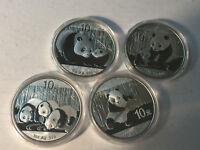 2011 2012 2013 2014 China Panda Silver BU condition, lot of 4 coins