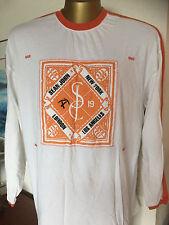 Sean John  NY London LA  Knit Shirt Cotton White w/ Orange  XXL