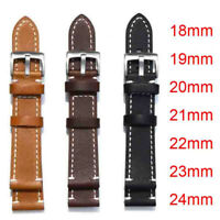 Men Thick Genuine Leather Watch Band Wristwatch Belt Replacement Strap 18mm-24mm