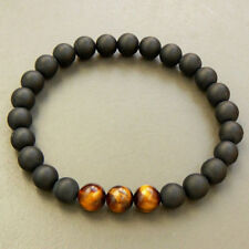 8MM Frosted Onyx Tiger Eye Beaded Bracelet Tibet silver men cuff Stretchy Monk