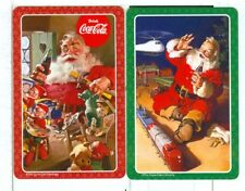 Two Single Playing Cards, Coca Cola Santa pair, NEW 2017