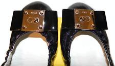 Fendi Black Patent Leather Gold Logo Ballet Flats Bow 39.5- 9 Ballerina Shoes