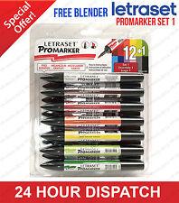Letraset Promarker-Assortiment de 12 couleurs Set 1-Twin Tipped-Large/FINE Neuf dans sa boîte