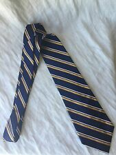 LAUREN BY RALPH LAUREN BLUE, GOLD & WHITE STRIPED TIE