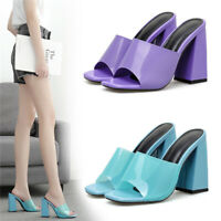 Ladies Purple/Blue Perspex Mules Women High Block Heel Peep Toe Party Shoes Size
