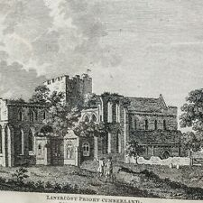 """Antique 1783 Engraving by S. Hooper of Lanercost Priory Cumberland 13"""""""