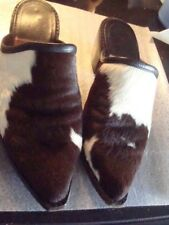 Pony or Calf Hair Brown/White All Leather Boots/Mules/Clogs Sz 5
