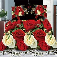 3D Floral King Size Duvet Cover Sheet Pillowcase Romantic Red Rose Bedding Set