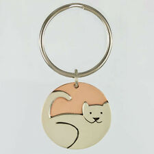 Far Fetched KITTY CAT KEYCHAIN Silver & Copper  Mima Oly Key Ring Tag  - Boxed