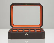 WOLF 458406 Windsor Brown/Orange 10 Piece Watch Box Glass Cover