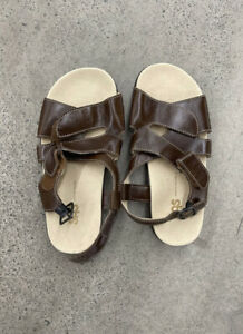 SAS Brown Leather Slides Tripad Comfort Sandals Shoes Women's Size 7.5