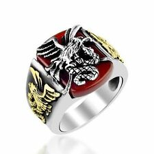Eagle & Snake Turkish Solid 925 Sterling Silver, Men's Ring Red Agate Gemstone