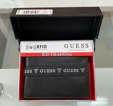 GUESS Men's Genuine Leather Wallet with Valet RFID Protection Bifold BLACK ~ NEW