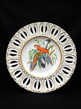 """Vintage SIGNED Ugo Zaccagnini Hand Painted 13"""" Plate PARROTS Artist Signed CORSI"""