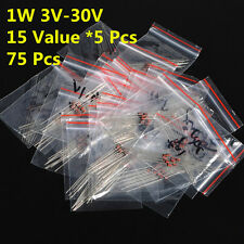 75Pcs 15 Values 1W 1 W 1N47 3V-30V Zener Diode Assorted Kit Assortment Set