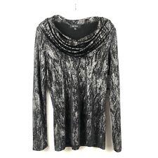 Karen Kane Black Silver Draped Cowl Neck Top Size XL
