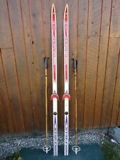 """Ready to Use Cross Country 71"""" JARVINEN 185 cm Skis WAXLESS Base +  Poles"""