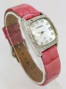 Ladies Fossil F2 Crystal Embedded Bezel Pink Leather Strap Wrist Watch ES9961 A1