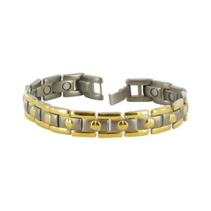Men's Two Tone Titanium Magnetic Therapy 11mm Link Bracelet 8.5 inch