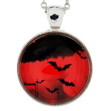 Full Blood Moon Vampire Bats Pendant Goth Necklace Industrial Gothic Jewelry