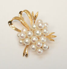 Vintage 14k Rose Gold and Pearl Brooch, ribbon and leaf forms, all engraved