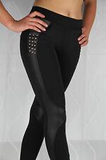 Treggings Leggings Sexy Leder Lack Schwarz Nieten Gold Black Rivet Business