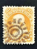 US SCOTT #71 30 CENT WASHINGTON USED SUN HANDSTAMP FANCY CANCEL NICE!