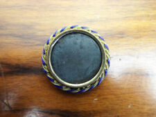 Vintage Miniature Photo Brooch Jewelry Blue & Gold Photograph Romantic Pin