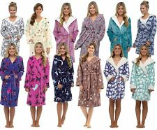 Short Hooded or Collar Full Length Fleece Bath Robe Dressing Gown Girls Ladies