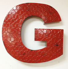 """20"""" Industrial Letter G, Embossed 20"""" Large Rustic Red Metal Wall Letter G"""