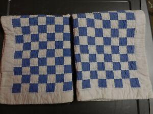 VINTAGE RALPH LAUREN BLUE & WHITE PATCHWORK STANDARD SHAMS-EXCELLENT SHAPE
