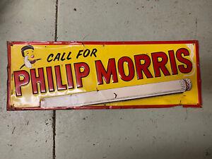 Original Vintage Embossed Phillip Morris Cigarette Metal Sign 27 in. X 10 in.