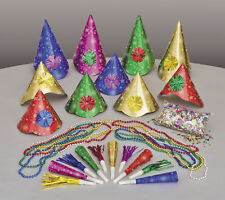 NUOVO Anno Festa KIT per 10 PERSONE CAPPELLI Squawkers rumore Maker collane confetti