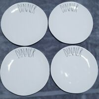 "Rae Dunn ""DINNER"" 11 inch Dinner Plates- Set Of 4 Artisan Collection by Magenta"