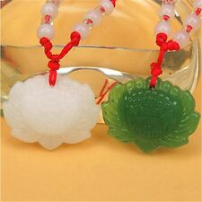 Natural Green Jade Lotus Pendant Necklace Fashion Lucky Charm White Green  pro,