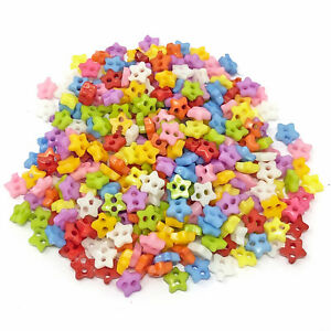 Star 300pcs 6mm Multicoloured Mix Resin Buttons For Cardmaking Embellishment