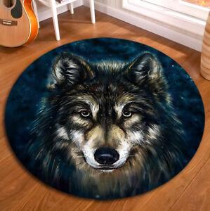 Wolf Head Non-slip Yoga Bath Mat Living Room Floor Round Carpet Decor Area Rugs