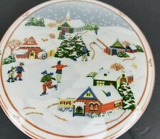 Hankook Ceramic Covered Trinket Dish With Lid Winter Xmas Design Made In Korea