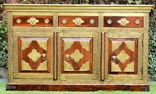 Antique Embossed Brass Indian Sideboard Cabinet Moroccan Buffet Statement Piece