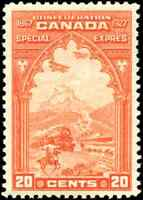 Canada #E3 mint F-VF OG NH 1927 Special Delivery 20c orange Confederation Issue