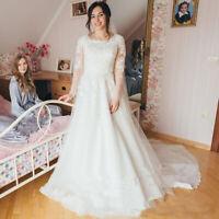 Modest Long Sleeves A Line Wedding Dresses Scoop Neck Lace Applique Bridal Gown