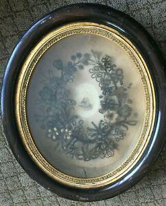 Victorian Friendship Mourning Hair Art Flower Wreath Shadowbox Frame Antique