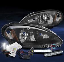 FOR 2001-2005 CHRYSLER PT CRUISER BLACK HEADLIGHTS HEADLAMPS W/LED DRL+XENON HID