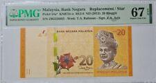 "2012MALAYSIA RM20 ZETI ""REPLACEMENT"" ZB, PMG67 EPQ SUPERB GEM UNC {P-54a*}"