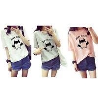 Women Cotton Soft Short Sleeve O Neck Loose Cute Casual T-Shirt Tee Tops Blouse