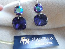 NEW Royal Purple Crystal Rhinestone Sorrelli Pierced LeverbackDrop Earrings  NWT