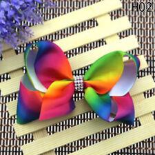 5 Inch Girl Rainbow Bows Hairpin Large Rib Grosgrain Ribbon Bow Hair Clip H02