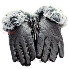 Womens Winter Wrist Dressy Gloves Black Leather Thermal Lining Rabbit Fur Cuff